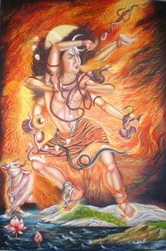 Shiva dancing, modern newari painting, Nepal