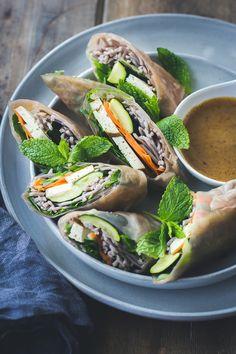 Roasted Zucchini + Soba Noodle Summer Rolls {Vegan + Gluten-Free}