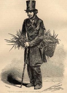 """The Groundsel Man"" - Illustration from Henry Mayhew's ""London Labour & London Poor"" (1851-1865): ""I sell chickweed and grunsell, and turfs for larks. That's all I sell, unless it's a few nettles that's ordered. I believe they're for tea, sir. I gets the chickweed at Chalk Farm. I pay nothing for it. I gets it out of the public fields. Every morning about seven I goes for it. I've been at business about eighteen year."""