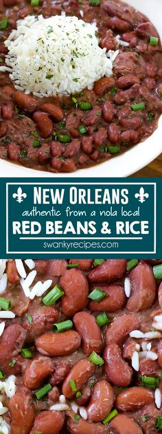 New Orleans Red Beans and Rice - A Louisiana classic on Mondays. You'll love this stove top red beans and rice recipe made with real New Orleans andouille sausage, and creole seasoning. Red Beans I southern recipes I nola recipes I new orleans food I gluten free Risotto Recipes, Rice Recipes, Supper Recipes, Bean Recipes, Side Dish Recipes, Lunch Recipes, Vegetable Recipes, Cajun Recipes, Healthy Recipes