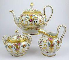Exquisite Antique Dresden 3 Piece Tea Set