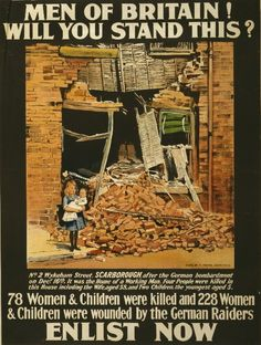 Tomorrow morning marks exactly 100 years since the residents of Scarborough, North Yorkshire, were unexpectedly attacked by three German warships during the First World War, ruining homes and shops. Ww1 Propaganda Posters, Political Posters, Library Posters, Library Memes, Library Ideas, Service Public, Cultura General, Neutral, World War One