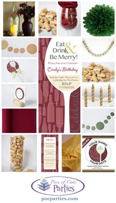 40th birthday party?  Wine!  25th anniversary party?  Wine!  Any kind of party?  Wine!  A complete charming, handmade wine party.  You just add the cake and food!  By Piece of Cake Parties.  Charming.  Effortless.  Affordable.