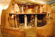 A full scale replica of an ancient Israelite home from the 'Houses of Ancient Israel: Domestic, Royal, Divine' exhibit. Courtesy & currently located at the Semitic Museum, Harvard University,.
