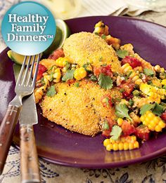 Catfish fillets, coated with cornmeal and pan-fried in olive oil, make a healthy low-fat main-dish. The colorful corn and tomato salsa seasoned with cumin, cilantro, and a jalapeno chile, lends a southwestern note.