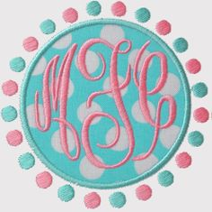 """Master Circle Embroidery Font--1.75"""" and 2.5"""" called Fancy Circle Monogram2 Smaller Size. Look for """"Use This One"""""""