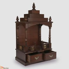 Buy Wooden Pooja Temple for Home Online Shopping in India at Lowest Price N Pujari Wooden Temple For Home, Temple Design For Home, Home Temple, Mandir Design, Pooja Mandir, Pooja Room Door Design, Home Furniture Online, Puja Room, House Design