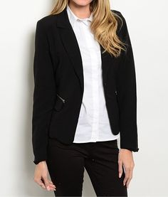 ObsessedToDress.com -  Notch Collar Black Blazer