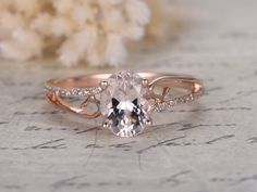 6x8mm Oval Cut Morganite and Diamond Engagement Ring 14k Rose gold Simple Split Shank
