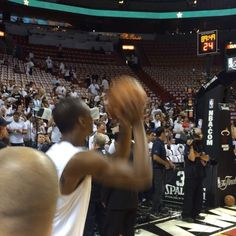 @Riley Murray knocking down the corner 3 during pregame warmups! Game 3 tips off in just over an hour. #LETSGOHEAT!