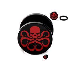 Copy of Captain America Hydra Screw Fit Ear Acrylic Plugs Gauges 0G Body Jewelry Marvel