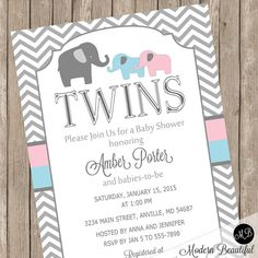 Twins Elephant Baby Shower Invitation pink and by ModernBeautiful