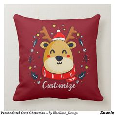 Personalized Cute Christmas Reindeer Throw Pillow Custom Pillows, Decorative Pillows, Christmas Items, Cotton Pillow, Holiday Outfits, Christmas Card Holders, Decorating Your Home, Reindeer, Colorful Backgrounds