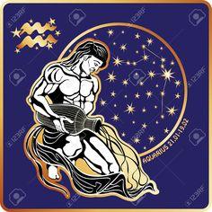 Horoscope.Aquarius знак зодиака Клипарты, векторы, и Набор Иллюстраций Без Оплаты Отчислений. Image 31579944.