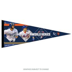 """2015 MLB World Series Dueling New York Mets vs Kansas City Royals Premium Pennant with Players 12"""" x 30"""" (Pre-order)"""