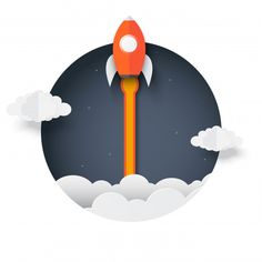 Rocket outside the box. space shuttle launch to the sky ejected from circle. Space Illustration, Illustrations, Apple Watch Wallpaper, Space Party, Cute Patterns Wallpaper, Creative Icon, Creative Advertising, Illustrator Tutorials, Start Up Business