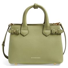 Burberry 'Small Banner' Leather Tote (21,530 MXN) ❤ liked on Polyvore featuring bags, handbags, tote bags, pale pistachio green, structured tote, green leather tote, burberry purses, burberry handbags and green leather tote bag