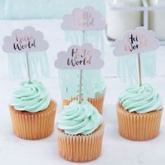 Rose Gold Cloud Baby Shower Cupcake Toppers//Hello World//New Baby Party Decoration//Baby Gift Ideas//New Arrival//Cloud Party Decorations. Baby Shower Cakes, Décoration Baby Shower, Gateau Baby Shower, Bebe Shower, Baby Shower Cupcake Toppers, Baby Shower Party Supplies, Gold Baby Showers, Cupcake Party, Baby Shower Parties