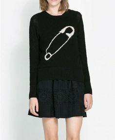 Black Jacquard Pattern Pullover - Knitwear - Clothing