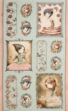 grüner Gothic Mädchen Paneel Stoff Mirabelle Santoro Quilting Treasures - Retrostoffe - Stoffe - kawaii shop modeS4u