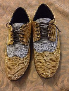 Metal chain covered shoes / unique shoe / handmade chain