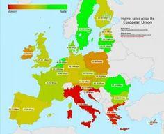 La mappa della velocità di Internet nell'Unione Europea. #lalinearossa #Internet #UE