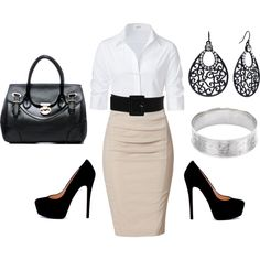 A fashion look from August 2012 featuring Steffen Schraut blouses, Donna Karan skirts and Daisy Fuentes earrings. Browse and shop related looks.
