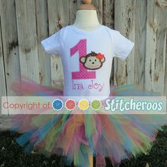 A personalized Monkey Loves Birthdays shirt and tutu set, perfect for your beach bums first birthday!