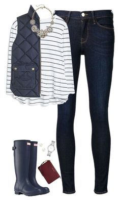 """""""Navy stripes, vest & hunter boots"""" by steffiestaffie ❤ Cute Fall Outfits, Fall Winter Outfits, Autumn Winter Fashion, Casual Outfits, Fashion Outfits, Womens Fashion, Fall Fashion, Shop This Look Outfits, Boot Outfits"""