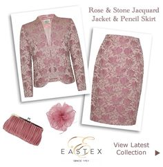 Rose Pink Jacquard Suit Lace Jackets Matching Pencil Skirts : Occasion Outfits