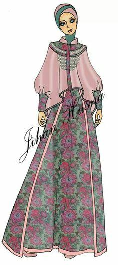 Muslim Fashion, Hijab Fashion, Fashion Dresses, Fashion Design Drawings, Fashion Sketches, Work Fashion, Fashion Models, Gaun Dress, Ella Enchanted