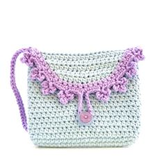 Purse for Girls - Crochet - Baby Blue and Lilac -  Fashion Bag - Little Girl Carry-All