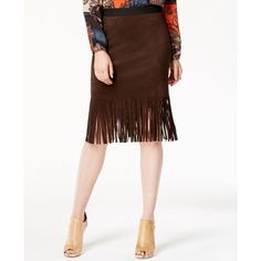 Karen Kane Faux-Suede Fringe Pencil Skirt ($79) ❤ liked on Polyvore featuring skirts, brown, white knee length pencil skirt, knee length pencil skirt, pencil skirt, white skirt en faux suede fringe skirt