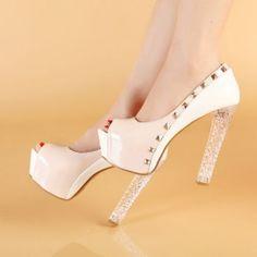 Zapatos Boquita de Pez Con Tachas Doradas Combinado Beige y Blanco y Taco Transparente!!