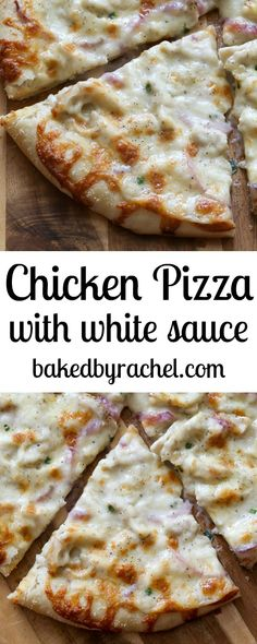 Thin crust three cheese chicken pizza with garlic white sauce recipe. Great pizza recipe and family dinner. I Love Food, Good Food, Yummy Food, White Pizza Sauce, White Chicken Pizza, Chicken Alfredo Pizza, White Sauce Pasta, Pizza Cake, Pizza Pizza