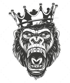 Vector illustration, ferocious gorilla head on with crown,King of monkeys, on white background Moños Tattoo, Kopf Tattoo, Lion Tattoo, Chest Tattoo, Gas Monkey, Monkey Art, Tattoo Design Drawings, Tattoo Sketches, Tattoo Designs Men