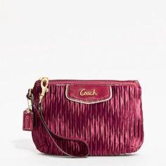 Coach 48163 Gathered Satin Sateen Medium Wristlet Clutch Wallet Bag Bordeaux Red Coach. $68.00