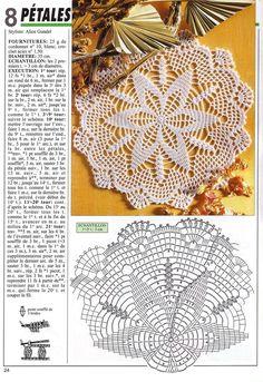 Kira scheme crochet: Scheme crochet no. Free Crochet Doily Patterns, Crochet Mat, Crochet Doily Diagram, Crochet Dollies, Crochet Lace Edging, Crochet Motifs, Thread Crochet, Crochet Magazine, Crochet Tablecloth