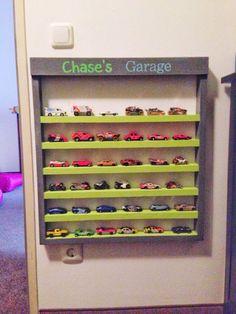 Made a hot wheels garage for car storage!