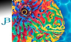 JEAN-BAPTISTE : Worlds Best Silk Painting Artist : BLUE BARRED PARROTFISH