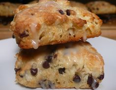 Joyously Domestic: Oatmeal Chocolate Chip Scones with Orange Drizzle Glaze
