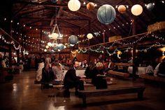 paper lanterns on the christmas light string