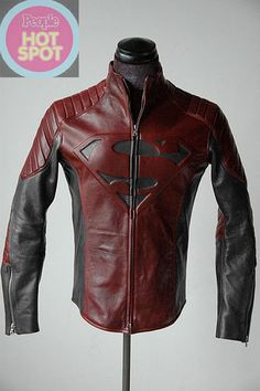 Superman black red combination faux leather jacket costume
