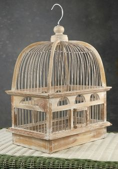 "Teak Handcrafted Bird Cages 16"" x 12.5"" from Save on Crafts"