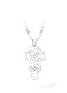Crystal Cross Pendant Sketch by Ezartesa
