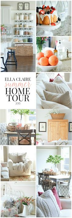 Summer Home Tour 2015 Ella Claire Summer Home Tour~ Bright and happy with lots of vintage charmElla Claire Summer Home Tour~ Bright and happy with lots of vintage charm Cottage Style, Farmhouse Style, Farmhouse Ideas, Farmhouse Decor, Home Decor Inspiration, Decor Ideas, Decorating Tips, Summer Decorating, House Tours