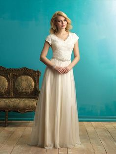71dadc5878e8 Bridal Gown, Belt Attached, Lace and English Net Illusion Neckline Wedding  Dress, Extravagant. Veronica Michaels