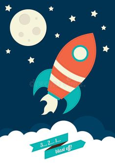 Photo about An illustration of a rocket flying into space. Illustration of drawing, ship, booster - 38929814 Binder Cover Templates, Binder Covers, Kids Science Lab, Rocket Cartoon, Wooden Spool Crafts, Illustration Mignonne, Youtube Drawing, Space Fabric, Comics