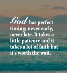 God has perfect timing; never early, never late. It takes a little patience and it takes a lot of faith but it's worth the wait. ~unknown