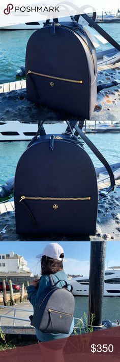 Shop Women's Tory Burch Black size OS Backpacks at a discounted price at Poshmark. Backpack Bags, Fashion Backpack, Plus Fashion, Fashion Tips, Fashion Design, Fashion Trends, Tory Burch Bag, Emerson, Navy Blue